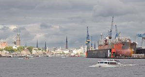 Harbour of Hamburg in Germany Stock Image