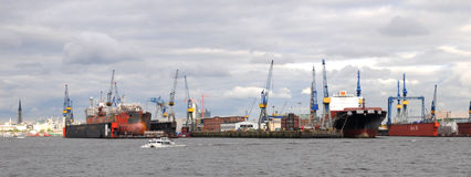 Harbour of Hamburg in Germany Royalty Free Stock Photo