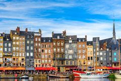 The harbour of Honfleur, Normandy, France with yachts. In sunny day royalty free stock photography