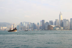 The harbour of Hong Kong at daytime Royalty Free Stock Photos