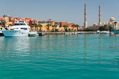Harbour in Hurghada. With a view of the mosque Stock Photos