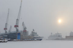 Free Harbour In A Blizzard Stock Photography - 24280502