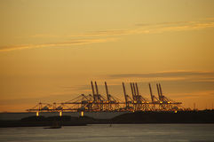 Harbour installations Hoek van Holland at sunset Royalty Free Stock Photos