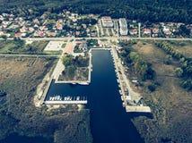 Harbour in KÄ… Rybackie ty, Polonia Fotografia Stock