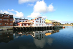 The harbour of Kabelvoag mirroring Royalty Free Stock Image