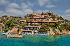 Harbour of Kalekoy and Simena Castle Near Kekova Island, Turkey. Royalty Free Stock Photography