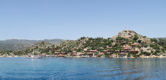 Harbour of Kalekoy and Simena Castle Near Kekova Island in Turkey Stock Photos