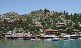 Harbour of Kalekoy and Simena Castle Near Kekova Island in Turkey Stock Image