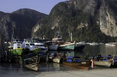 Harbour of Koh Phi Phi island. In the morning (Thailand): long-tail boats and ferry Royalty Free Stock Photography