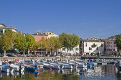 Harbour and lakeside promenade in Garda Royalty Free Stock Image