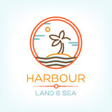 Harbour. Land and Sea. Vector illustration with palm on the island Royalty Free Stock Photography