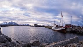 Harbour of Laukvik in a timelapse Stock Image