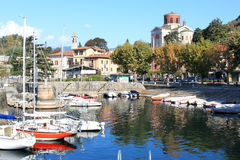 Harbour of Laveno, Italian Lake Maggiore Royalty Free Stock Image