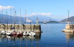 Harbour of Laveno, Lake Maggiore, Italy stock photography