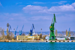 Harbour Level Luffing Cranes Royalty Free Stock Photos