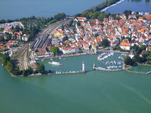 Harbour of Lindau. Photograhed from a little aeroplane Royalty Free Stock Photography