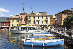 The harbour at Malcesine on Lake Garda, Italy. Royalty Free Stock Photo