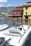 The harbour at Malcesine on Lake Garda, Northern Italy. Royalty Free Stock Image