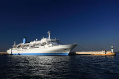 Harbour with maritime. Huge maritime ship at the harbour in greece Royalty Free Stock Image