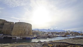 Harbour and medieval castle in Kyrenia city (Girne), Cyprus stock video