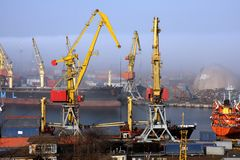 Harbour in mist Royalty Free Stock Images