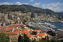 Harbour Monaco. Monaco harbour showing roof tops and boats Stock Photography