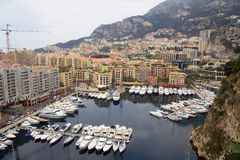 Harbour in Monte Carlo. Ariel view of Harbour in Monte Carlo Stock Photo