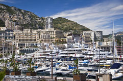 Harbour of Monte Carlo, Monaco principality Royalty Free Stock Images