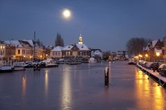Harbour in moonlight Royalty Free Stock Images