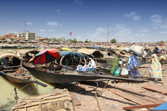 Harbour of Mopti, Mali. Most famous harbour of west africa is in Djenne Royalty Free Stock Photography