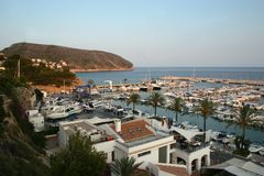 Harbour at Moraira. Overlooking the harbour at Moraira, Costa Blanca, Southern Spain, in the late afternoon stock photos