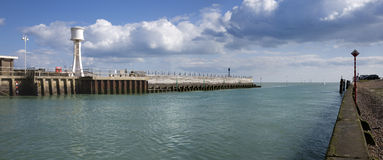 Harbour Mouth. The harbour mouth at Littlehampton on the south coast of England, where the River Arun flows into the English Channel Royalty Free Stock Image