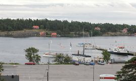 Harbour in Nacka, Stockholm. STOCKHOLM, SWEDEN - CIRCA AUGUST 2005: View of the Nacka harbour Royalty Free Stock Photography