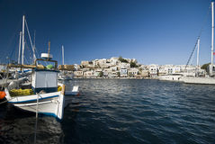 Harbour in Naxos. View on city Naxos Stock Image