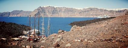 Harbour near volcano. Harbour for boat near volcano in santorini Royalty Free Stock Image