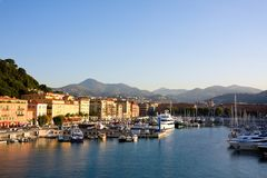 The harbour (Nice, France). View from the sea of the harbour Royalty Free Stock Photo