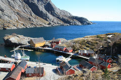 The harbour of Nusfjord Stock Photo