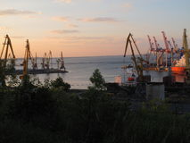 Harbour in Odessa. Black Sea and sunset stock photos