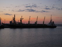 Harbour in Odessa. Black Sea and sunset royalty free stock photography