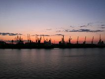 Harbour in Odessa. Black Sea and sunset stock image