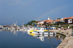 The harbour of old Nessebar town in Bulgaria. Royalty Free Stock Photo