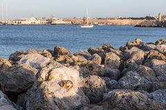 Harbour of old town Rhodes in Greece Stock Images