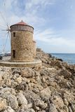 Harbour of old town Rhodes in Greece Stock Image