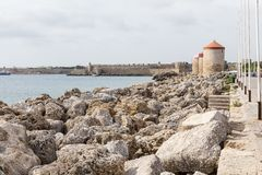Harbour of old town Rhodes in Greece Stock Photos