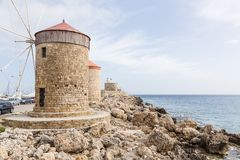 Harbour of old town Rhodes in Greece Royalty Free Stock Photography