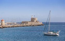 Harbour of old town Rhodes in Greece Royalty Free Stock Image