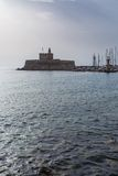 Harbour of old town Rhodes in Greece Stock Photo