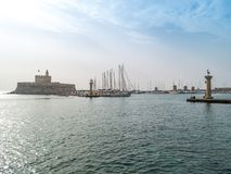 Harbour of old town Rhodes in Greece Stock Photography
