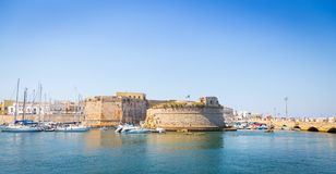 Gallipoli, Italy - historical centre view from the sea. The harbour and the old walls of Gallipoli, Puglia Region - South Italy Stock Photos