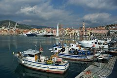 Harbour of Oneglia in Italy with picturesque houses stock image